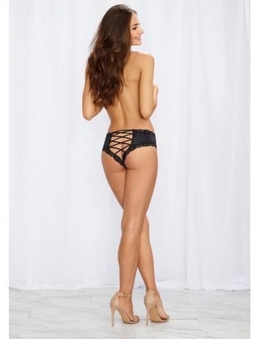 Lingerie - Boxers, strings, culottes - Tanga noir satiné bordures dentelle ajouré sur les fesses - DG1434BLK - Dreamgirl