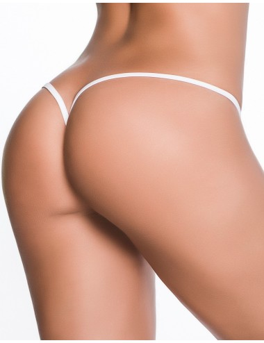 Lingerie - Boxers, strings, culottes - String ficelle invisible sexy blanc dos en forme Y - MAL1092WHT - Mapalé