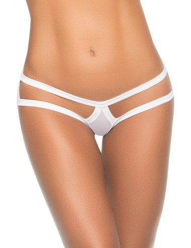 Lingerie - Boxers, strings, culottes - Culotte string cage blanche - MAL1074WHT - Mapalé