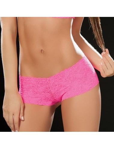 Lingerie - Boxers, strings, culottes - Boyshort dentelle 90 Hot Pink - MAL90PNK - Mapalé