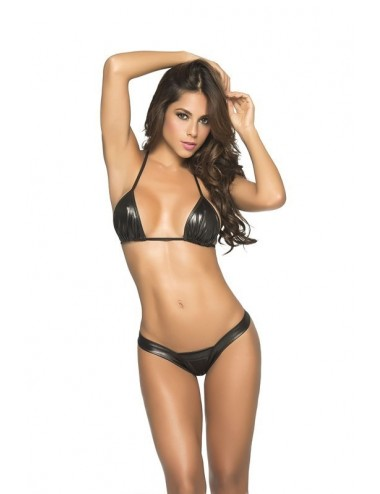 Lingerie - Boxers, strings, culottes - Perfect Thong Wet look Black - MAL1075WBK - Mapalé