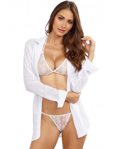 Ensemble blanc soutien-gorge string avec chemise - DG4820
