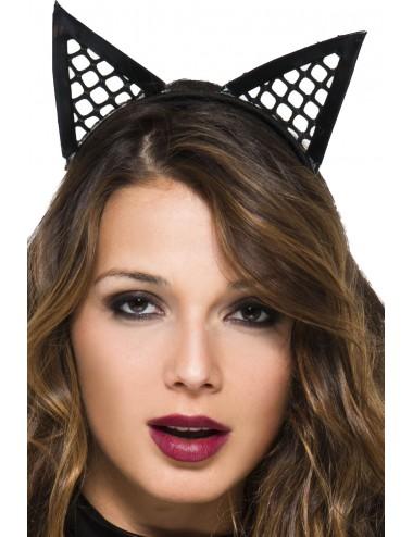 Lingerie - Costumes sexy - Petite serretête oreilles de chatte sexy pointues filet - ML70854BLK - Music Legs