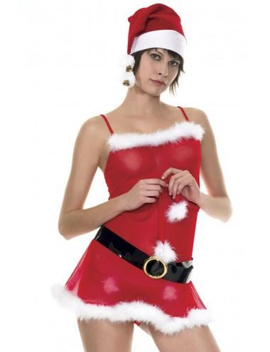 Lingerie - Costumes sexy - Robe de mère Noël avec ceinture et bonnet - ML70030 - Music Legs