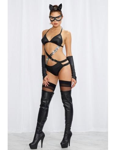 Lingerie - Costumes sexy - Déguisement sexy de féline noire avec ses mitaines et oreilles de féline - Dreamgirl