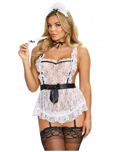Lingerie - Costumes sexy - Costume blanche sexy femme de chambre en tablier - DG9766 - Dreamgirl