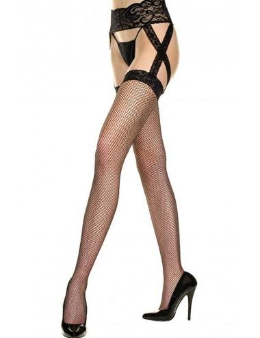 Lingerie - Collants - Collant résille noir effet bas et double jarretelles dentelle - MH7910BLK - Music Legs