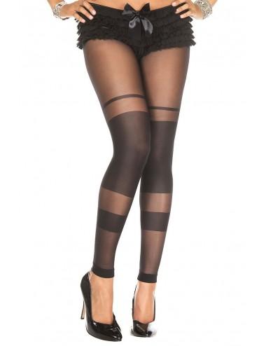 Lingerie - Collants - Collant noir sans pied bandes opaques - MH35011BLK - Music Legs