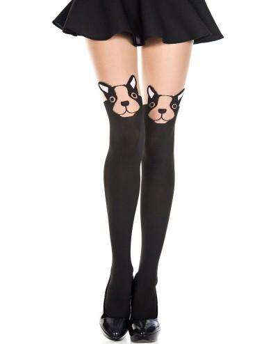 Lingerie - Collants - Collant fantaisie noir chair avec tête de toutou - MH7256BKN - Music Legs