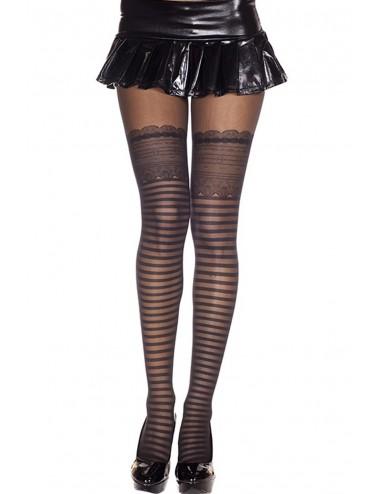 Lingerie - Collants - Collant nylon noir chair effet jarretelles à coeurs - MH7238BLK - Music Legs