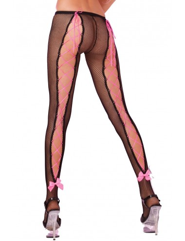 Lingerie - Collants - Collant résille avec laçages et noeuds roses - PLK29002-BLKBLK - Pink Lipstick