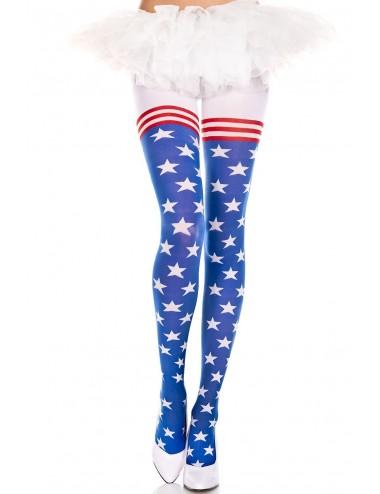 Lingerie - Collants - Collant drapeau américain - MH7068ASH - Music Legs