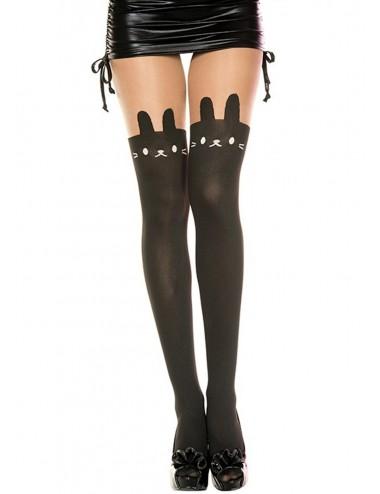 Lingerie - Collants - Collant nylon fantaisie opaque noir tête de lapin - MH7166BBL - Music Legs