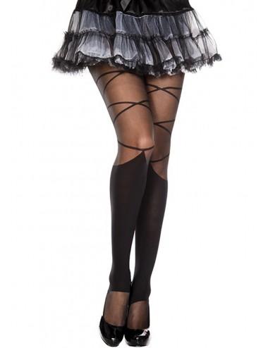 Lingerie - Collants - Collant nylon fantaisie noir effet jambières et lacets - MH7133BLK - Music Legs
