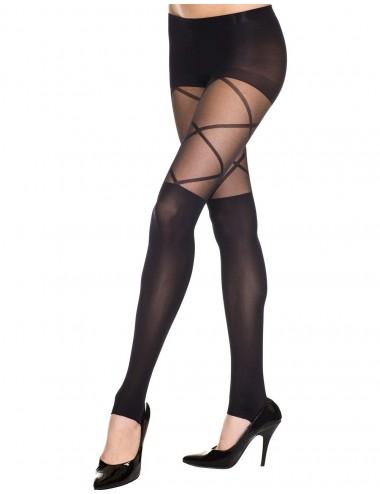 Lingerie - Collants - Collant noir effet legging fashion opaque et transparent style cuissarde - MH7389BLK - Music Legs
