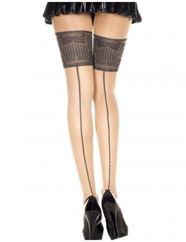 Lingerie - Collants - Collant chair sexy effet bas jarretières noires et coutures - MH7355BBL - Music Legs