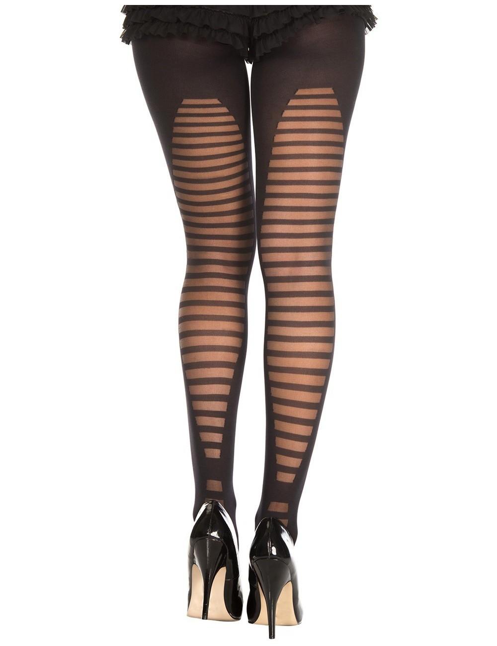 Lingerie - Collants - Collant semi opaque noir avec arrière fantaisie de lignes horizontales - MH7300BLK - Music Legs