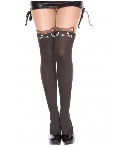 Lingerie - Collants - Collant semi opaque avec tête de chat fantaisie et queue à l'arrière - MH7144BBE - Music Legs