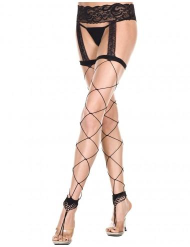 Lingerie - Collants - Collant noir filet effet porte-jarretelles et style bijoux de chevilles - MH7820BLK - Music Legs