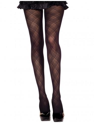 Lingerie - Collants - Collant nylon noir fantaisie avec croisement de lignes - MH7137BLK - Music Legs