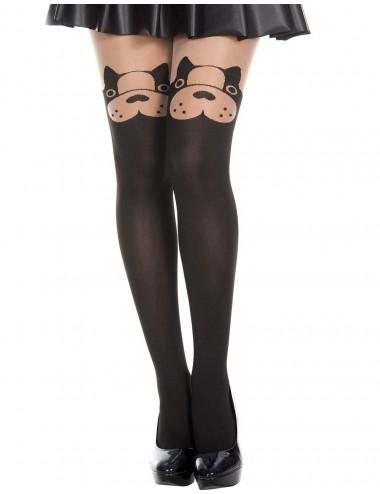 Lingerie - Collants - Collant semi opaque avec tête de chien fantaisie - MH7159BBE - Music Legs