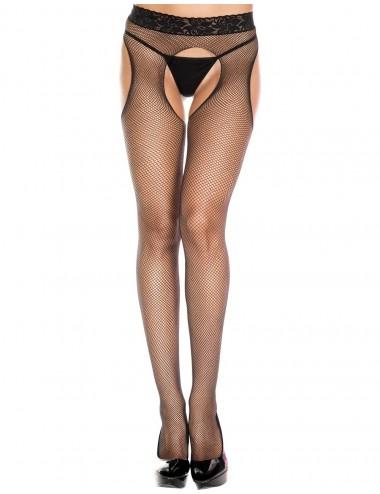 Lingerie - Collants - Collant sexy noir résille échancré avec bande de dentelle - MH953BLK  - Music Legs