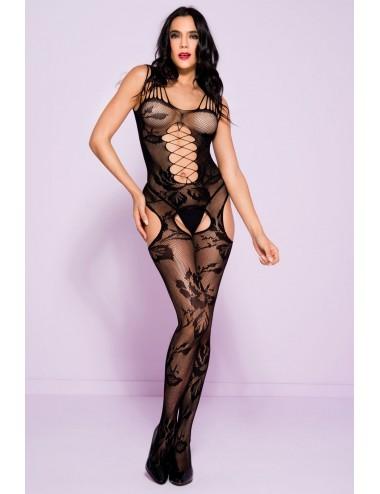 Lingerie - Combinaisons - Bodystocking en résille noire imprimé floral - ML1253BLK - Music Legs
