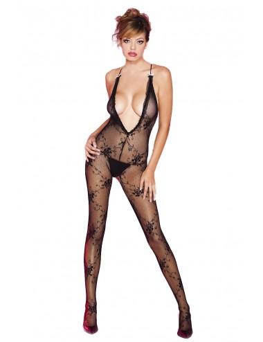 Lingerie - Combinaisons - Bodystocking noir floral très décolleté - ML1414BLK - Music Legs