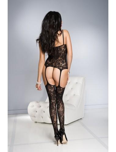 Lingerie - Combinaisons - Bodystocking guêpière noir floral - ML1785BLK - Music Legs