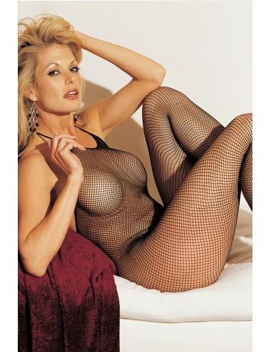 Lingerie - Combinaisons - Bodystocking noir résille fines bretelles entre-jambes ouvert - SOH90025BLK -