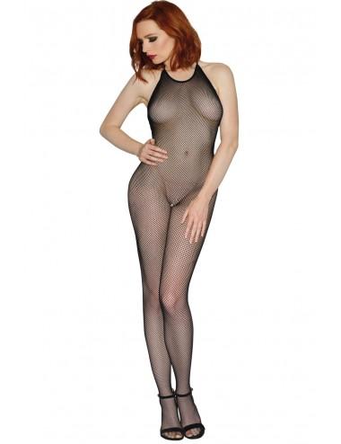Lingerie - Combinaisons - Bodystocking résille noir dos nu entre-jambes ouvert - DG0017BLK - Dreamgirl