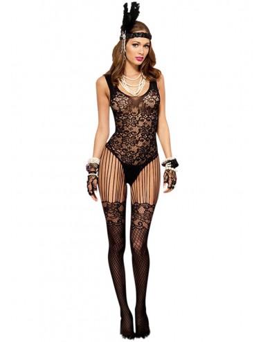 Lingerie - Combinaisons - Bodystocking dentelle noire effet bas sexy et jarretelles fils - ML1022BLK - Music Legs