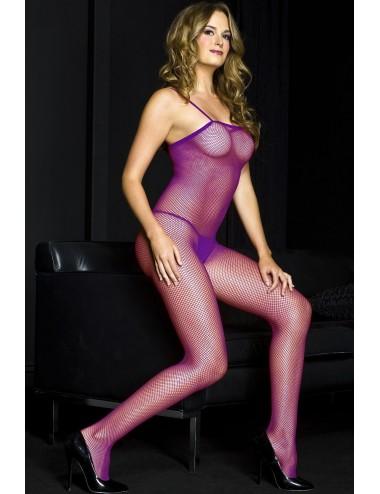 Lingerie - Combinaisons - Combinaison fines bretelles en résille violette - ML1901PUR - Music Legs