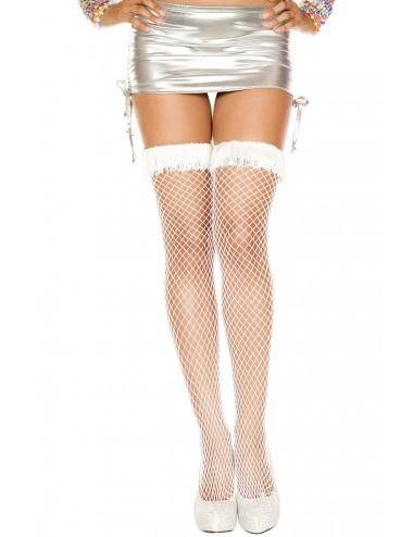 Lingerie - Bas Autofixants - Bas filet blancs jarretières à franges - MH4895WHT - Music Legs