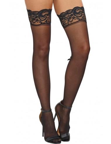 Lingerie - Bas Autofixants - Bas autofixant nylon noirs avec petit noeuds arrière - DG0081BLK - Dreamgirl