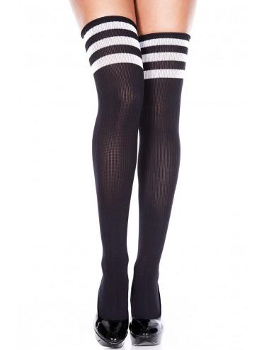 Lingerie - Bas Autofixants - Bas noirs sportif côtelés avec bandes sur jarretières - MH4245BKW - Music Legs
