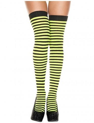 Lingerie - Bas Autofixants - Bas sexy autofixants opaques noirs rayés de vert fluo - MH4741BNG - Music Legs