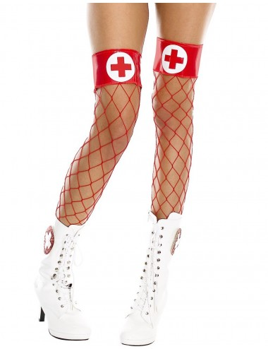 Lingerie - Bas Autofixants - Bas filet rouges autofixants jarretières brillantes et croix infirmière - MH4884REW - Music Legs