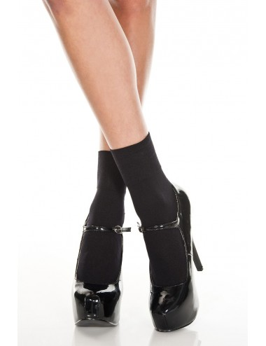 Lingerie - Bas - Socquettes noir semi transparente en résille - MH512BLK - Music Legs