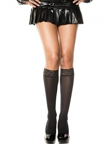 Lingerie - Bas - Socquettes noires hautes nylon avec dentelle - MH5745BLK - Music Legs