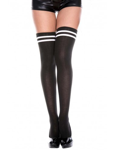 Lingerie - Bas - Bas acrylique noirs bandes blanches - MH4652BKW - Music Legs