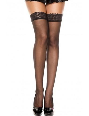 Lingerie - Bas - Bas nylon noirs jolies jarretières - MH4105BLK - Music Legs