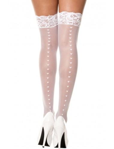 Lingerie - Bas - Bas blancs jarretières dentelle et petits coeurs - MH4239WHT - Music Legs
