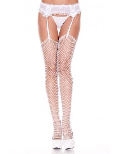 Lingerie - Bas - Bas blancs filet pour porte-jarretelles - MH4936WHT - Music Legs