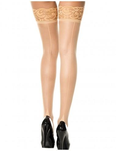 Lingerie - Bas - Bas coutures chairs jarretières dentelle - MH4119NUD - Music Legs