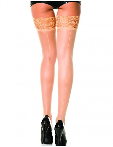 Lingerie - Bas - Bas chairs autofixants nylon voile couture et jarretières dentelle - MH4150NUD - Music Legs