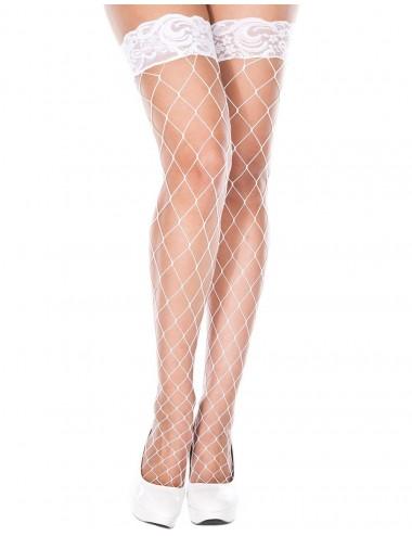 Lingerie - Bas - Bas filet blancs autofixants jarretières dentelle - MH4925WHT - Music Legs