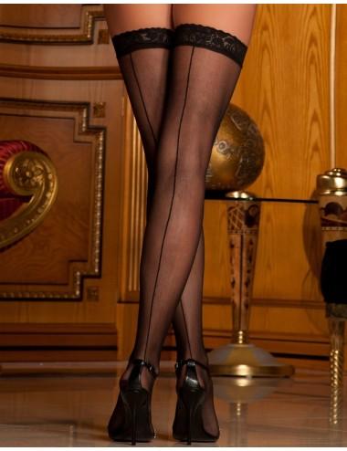 Bas sexy fin autofixants noirs effet coutures et jarreteières dentelle - REN8023-BLK