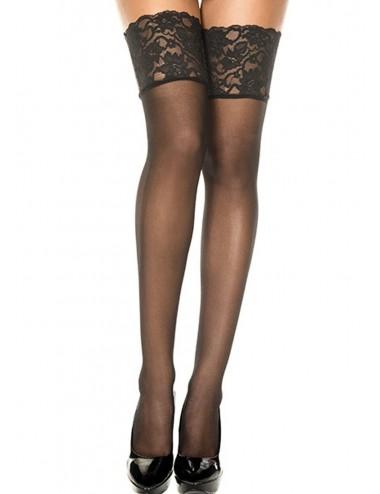 Lingerie - Bas - Bas noirs semi-opaques large jarretière autofixants - MH4120BLK - Music Legs