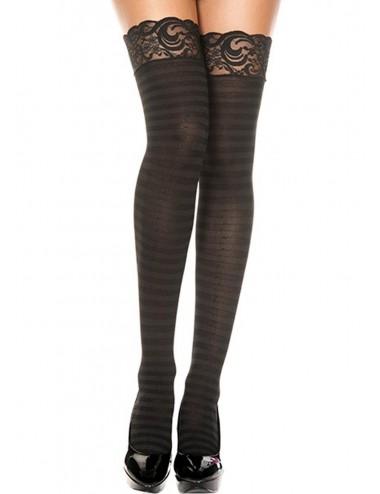 Lingerie - Bas - Bas rayés noirs transparent opaque jarretières dentelle - MH4740BLK - Music Legs